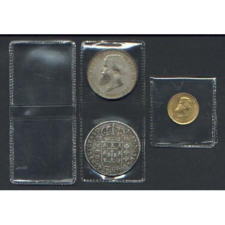 Envelopes pvc para moedas, modelo duplo, (100 unidades).