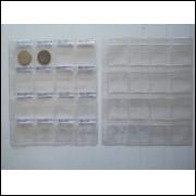 Folha pvc para 16 moedas, 3 furos, com aba. (5 unidades)