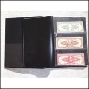 *Álbum para 30 cédulas. Capa com 10 folhas pvc e 9 divisórias pretas.