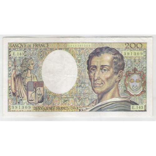 França, 200 Francs, 1992, mbc-s, P.155e. Montesquieu