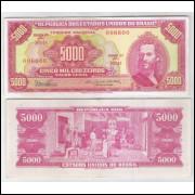 C110 - 5.000 Cruzeiros 1965 Estampa 2a Valor Legal, Dênio Nogueira-Otávio G. Bulhões,sob. Tiradentes