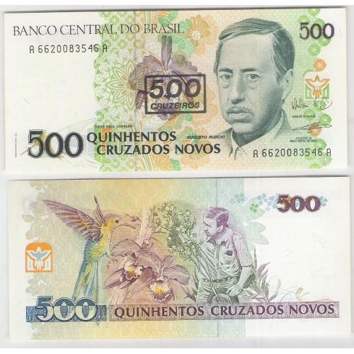 C213 - 500 Cruzeiros, 1990, Cédula Provisória, fe. Augusto Ruschi.