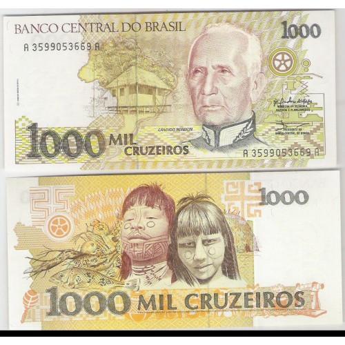 C217 - 1.000 Cruzeiros, 1990, Zélia Cardoso de Mello e Ibrahim Éris, fe. Cândido Rondon.