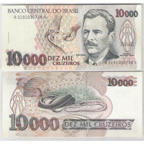 C224 - 10.000 Cruzeiros, 1992, Marcílio M. Moreira e Francisco Gross, soberba. Vital Brazil.