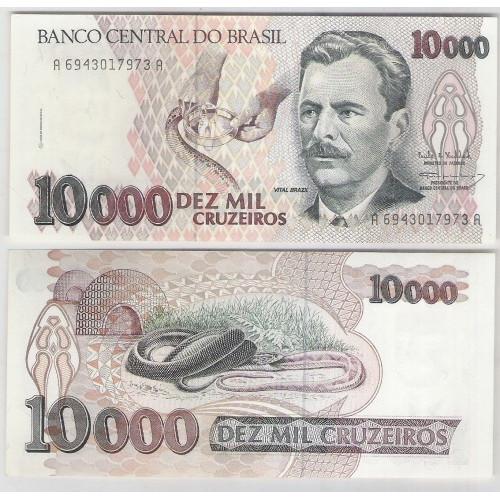 C225 - 10.000 Cruzeiros, 1993, Paulo R. Haddad e Gustavo J. L. Loyola, soberba. Vital Brazil.