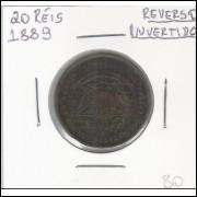 1889 - 20 Réis, reverso invertido, mbc