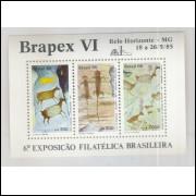 B-069 - 1985 - Brapex VI - Exposição Filatélica. Pinturas Rupestres.