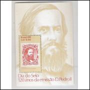 B-072 - 1986 - Dia do Selo. 120 Anos da emissão D.Pedro II. Selo sobre selo.