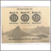 B-095 - 1993 - Brasiliana - Exposição Filatélica. 150 Anos do Selo Postal Brasileiro.Selo sobre selo