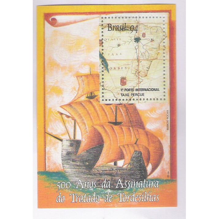 B-097 - 1994 - 500 Anos do Tratato de Tordesilhas. Mapa e Caravelas.