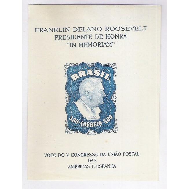 B-012 - 1949 - Presidente Roosevelt. Voto do V Congresso da União Postal das Américas e Espanha.