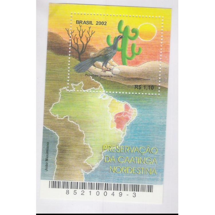 B-126 - 2002 - Preservação da Caatinga Nordestina. Mapa, Jacu, cactus, fauna e flora.
