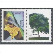 C-2854 - 2009 Selo Personalizado (vertical) - Bandeira e Ipê. Mapa, flora - 1o Porte - comercial.