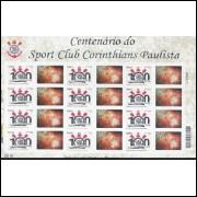 C-3029 - 2010 - Selo Personalizado (Horizontal) - Folha - Centenário do Corinthians Paulista.Futebol