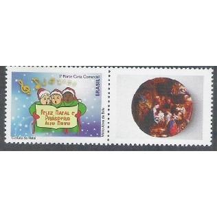 C-3063 - 2010 - Selo Personalizado - Natal - Coral. Música.