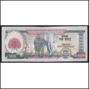Nepal - (P.67) 1000 Rupees, 2008, fe. Fauna, elefante.
