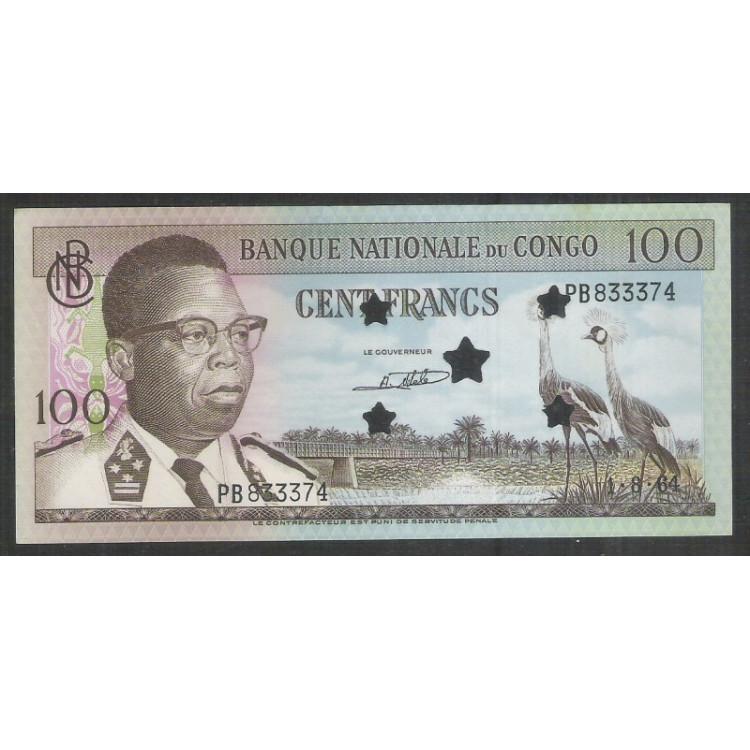 Congo - (P.6s) 100 Francs, 1964, Specimen, fe. Fauna, ave. Personagem.
