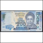 Malawi - (P.60) 200 Kwacha, 2012, fe. Personagem, Rose Lomathinda Chibambo. Arquitetura, Parlamento.