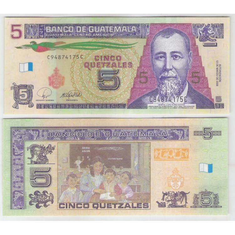 Guatemala - (P.116) 5 Quetzales, 2008, fe. Personagem, General Justo Rufino Barrios. Educação.