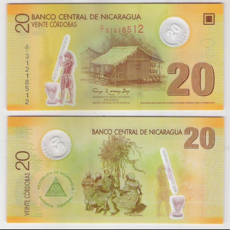 Nicarágua - (P.202) 20 Cordobas, 2007, fe. Cédula de polímero.
