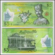 Brunei - (P.36) 5 Ringgit, 2011, fe. Personagem, Sultão Hassanal  Bolkiah.  Flores. Polímero