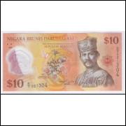 Brunei - (P.37) 10 Ringgit, 2011, fe. Personagem, Sultão Hassanal  Bolkiah.  Flores. Polímero