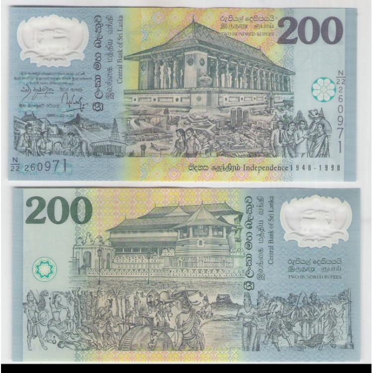 Sri Lanka - (P.114) 200 Rupees, 1998, fe. Polímero. Comemorativa 50 Anos da Independencia.