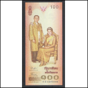 Tailândia - (P.111) 100 Baht, 2004, fe. Personagem, Rei Rama IX e Rainha Sirikit. Comemorativa.