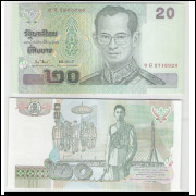 Tailândia - (P.109) 20 Baht, 2003, fe. Personagem, Rei Rama IX. Ponte.