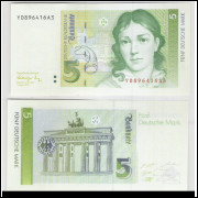 Alemanha - (P.37) 5 Deutsche Mark, 1991, fe. Personagem, Bettina von Arnim. Portão de Brandenburg.