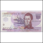 Chile - (P.160b) 2000 Pesos, 2007 AT, fe. Polímero. Personalidade, Manuel Rodriguez E.. Igreja