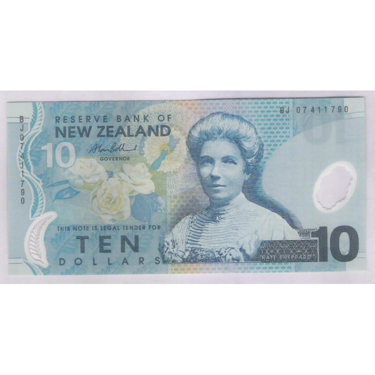 Nova Zelândia - (P.186) 10 Dollars, 2007, fe. Polímero. Personalidade, Kate Sheppard. Fauna,flora.