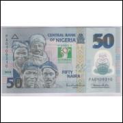 Nigéria - (P.37) 50 Naira, 2010, fe. Polímero. Comemorativa, 50 Anos da Independência. Peixes.