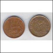 1999 - 1 Centavo, mbc, aço revestido de cobre.