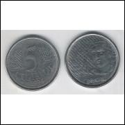 1994 - 5 Centavos, mbc-s, aço.