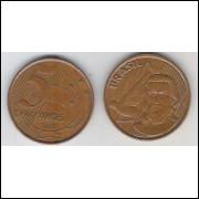2001 - 5 Centavos, mbc, aço revestido de cobre.