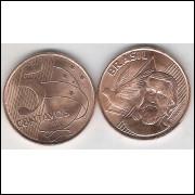 2001 - 5 Centavos, fc, aço revestido de cobre.