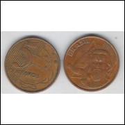 2002 - 5 Centavos, mbc, aço revestido de cobre.