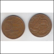 2003 - 5 Centavos, mbc, aço revestido de cobre.