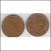 2004 - 5 Centavos, mbc, aço revestido de cobre.