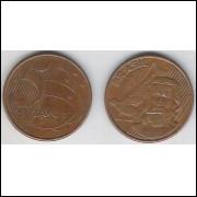 2006 - 5 Centavos, mbc, aço revestido de cobre.