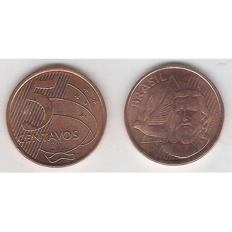 2010 - 5 Centavos, fc, aço revestido de cobre.
