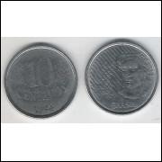 1994 - 10 Centavos, mbc, aço.