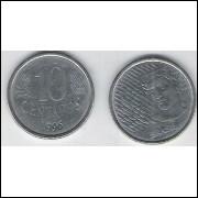 1996 - 10 Centavos, mbc, aço.