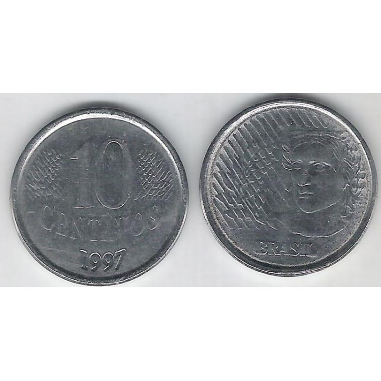 1997 - 10 Centavos, mbc, aço.