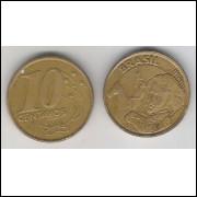 1998 - 10 Centavos, mbc, aço revestido de cobre.