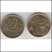 1998 - 10 Centavos, fc, aço revestido de cobre.
