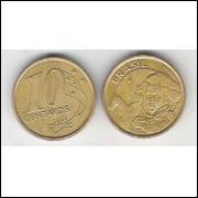 2001 - 10 Centavos, mbc, aço revestido de cobre.