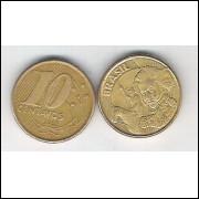 2002 - 10 Centavos, mbc, aço revestido de cobre.