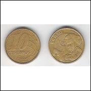 2005 - 10 Centavos, mbc, aço revestido de cobre.